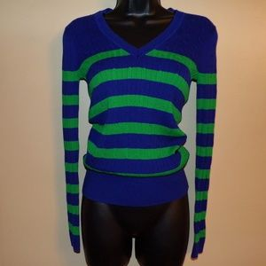 Tommy Hilfiger Blue & Green V-Neck  Sweater